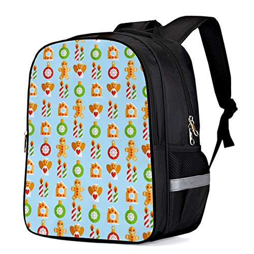 Water Resistant School Backpack, Christmas Elements Candle Snowflake Oxford 3D Print College Student Rucksack Daypack for School Camping Travel 33x28x16cm ()