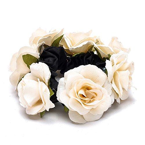 Digood Hair Ornament Simulation Rose Flower Circle Bridal Resort Sen Women's Headwear -