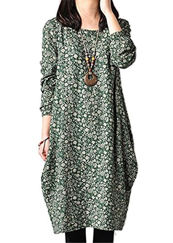YJWAN Women Autumn Floral Cotton linen Long Sleeves Oversized Blouse Tunic Dress