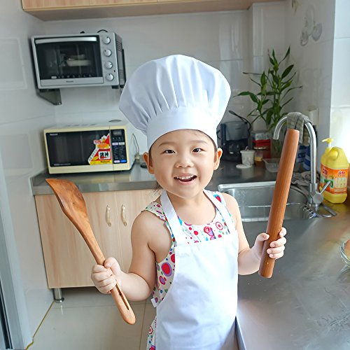 2 Pc-White kids'chef apron and hat set for cooking,baking,painting or decorating party (1-3Years) by MULAN (Image #4)