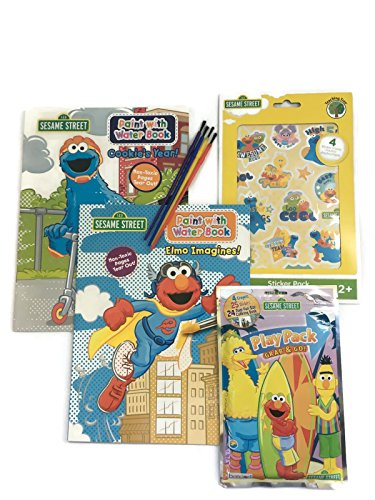(Sesame Street Elmo and Cookie Monster Paint With Water Books, Brushes, Sesame Street Play Pack and Sesame Street Stickers - Fun Pack! Water Painting Kit)