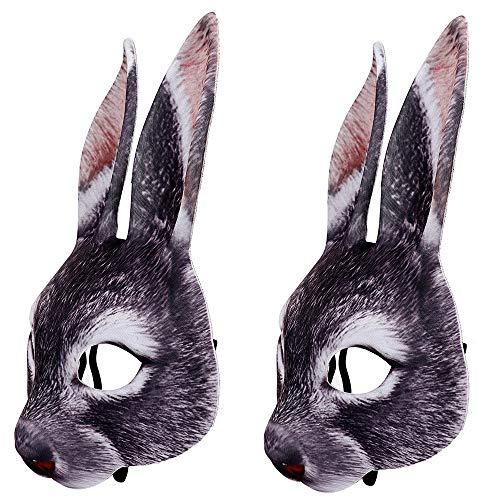 2X Rabbit Mask EVA Half Face Animal Mask for Halloween Easter Carnival Party Masquerade (Black) -