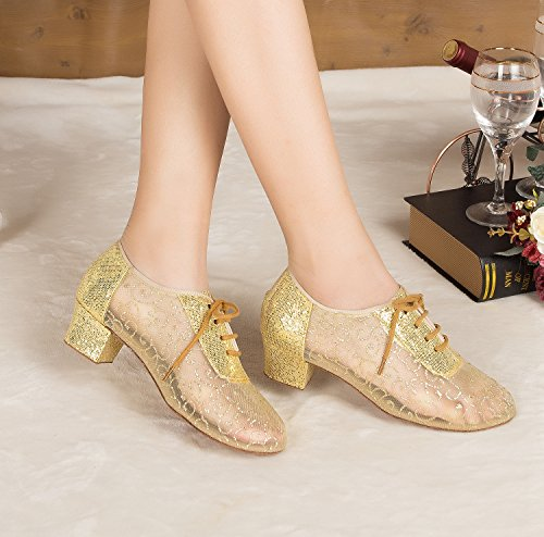 Lace Miyoopark Glitter Latin 4cm Low Shoes Wedding Heel up Pumps MY Dance Heel L133 Ladies Gold 55xXUF