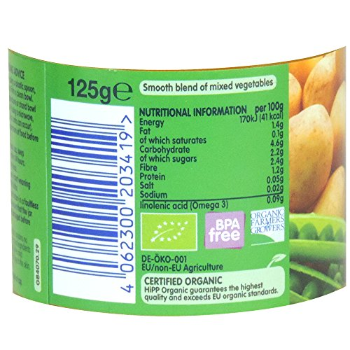 HiPP Organic - Baby Food 4+ Months - Mixed Vegetable Medley - 125g (Case of 6)