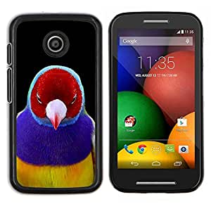 Pájaro rojo tropical púrpura Pico Pluma- Metal de aluminio y de plástico duro Caja del teléfono - Negro - Motorola Moto E / XT1021 / XT1022