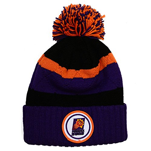 NBA Mitchell & Ness Vintage Jersey Stripe Hi Five Knit Hat with Pom (One Size, Phoenix Suns) -