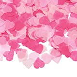 KUUQA 1 Inch Heart-Shape Paper Confetti Pink Tissue Table Confetti for Valentine's Day Wedding Party Decorations,6000 Pcs(60g)