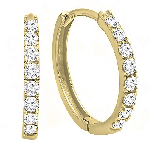 Dazzlingrock Collection 0.45 Carat (ctw) 10K Round Cut White Diamond Huggie Hoop Earrings 1/2 CT, Yellow Gold
