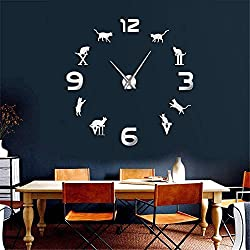 JBNJK Cat 3D Wall Watch Roman Arabic Numerals Luxury Large Wall Clock Modern Design Animal Kitty DIY Time Clock Wall Art Decor(Silver)-47inch