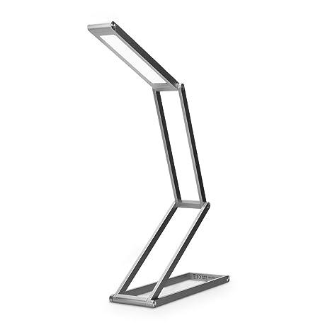kwmobile Lámparas de mesita de noche de aluminio - Lámpara de pie con batería y cable MicroUSB - Iluminación LED - Flexo de escritorio antracita