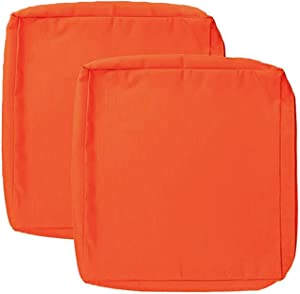 Sqodok 2 Pack Patio Replacement Cushion Covers 20x18x4, Outdoor Seat Cushion Cover Replacement Only, Furniture Chair Pads Cover Washable Cushion Pillow Seat Covers, Orange