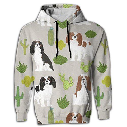 King Charles Spaniel Dog Men Novelty Color Lightweight Long Sleeve Youth Hoodies ()