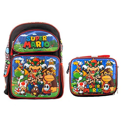 Super Mario Brothers Backpack Book Bag with Matching Lunch Box Travel Everyday bag pouch (Large 16