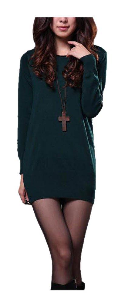 ARJOSA Women Sloughy Pullovers Round Neck Fleece Sweatshirt Loose Jumper Sweater (#5 Dark Green)