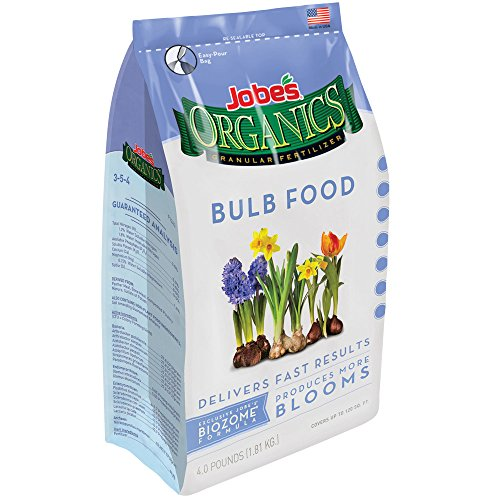 Jobe's Organics Bulb Fertilizer with Biozome, 3-5-4 Organic Fast Acting Granular Fertilizer for Tulips, Daffodils, Lilies and other Bulb Flowers, 4 pound bag
