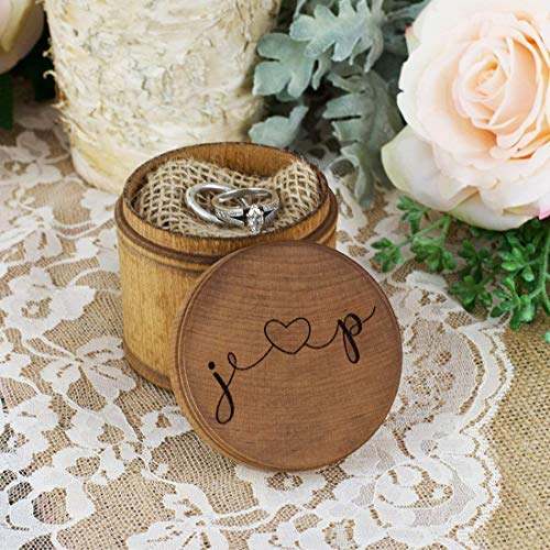 Personalized Engraved Ring Bearer Wood Pillow Box - Heart and Initials