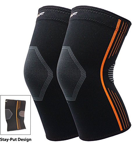 Stay-Put Design High Compression Knee Sleeve Breathable Knee Support Brace for Running Basketball Crossfit Squats Weightlifting Arthritis and Meniscus Tear – DiZiSports Store