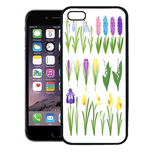 Semtomn Phone Case for iPhone 8 Plus case Cover,Green Iris Spring Flowers Irises Lilies of Valley Narcissus Crocuses Snowdrops Garden Cartoon Pink,Rubber Border Protective Case,Black