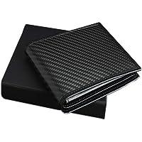 AmzBarley Men's RFID Wallets Case Holder Blocking Carbon Fiber Magnetic Modular PU Matte Leather 8 Slots ID Window Zip Coin Pocket Minimalist Slim Money Clip Bifold Business Black Color