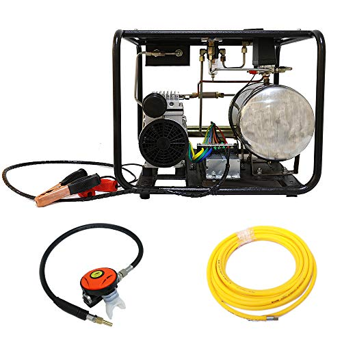 HPDAVV 12V 550W Air Compressor for Snorkeling Hookah Diving Compressor 8bar / 110psi with 50ft Hose & Respirator,Two Air Outlets,US After-Sales Service,Operational Video (A:Black)