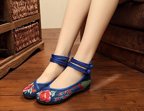 Maybest Mujeres Vintage Colorful Folk Style Tela De Flores Bordado Zapatos De Cuña Bajo Ballet Mary Jane Dance Flats Casual Blue