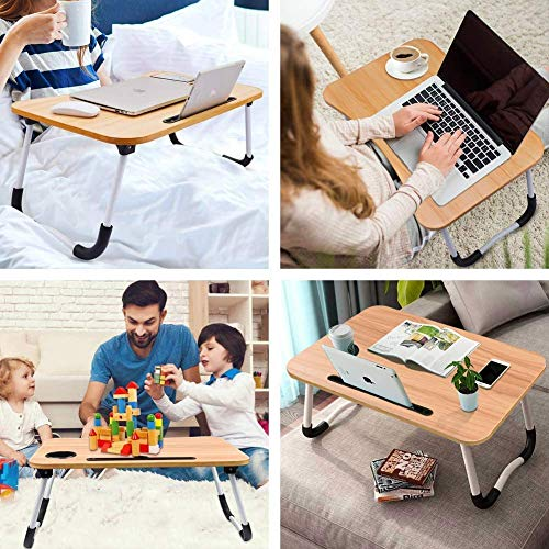 RudraaCorp Wooden Adjustable Laptop Stand, Multipurpose Foldable Laptop Table, Study Table For Students, Laptop Stand For Table, Multifunction Portable Adjustable Study Lapdesk Table For Breakfast Bed Tray