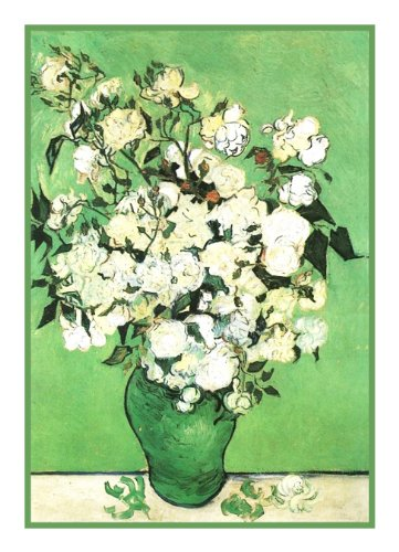 Vase Pink Roses by Vincent Van Gogh Counted Cross Stitch Pattern