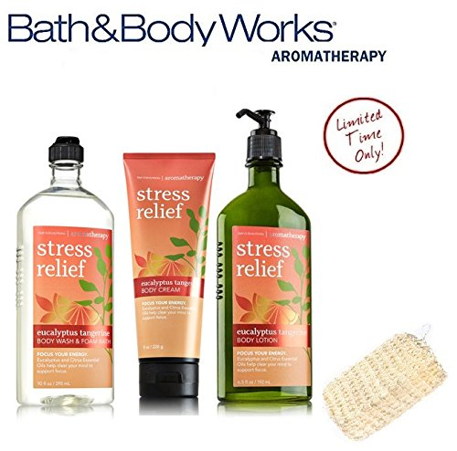 Bath & Body Works Eucalyptus Tangerine Deluxe Spa Set Aromatherapy Stress Relief Body Wash & Foam Bath - Body Lotion & Body Cream Plus FREE SISAL - Deluxe Body Wash