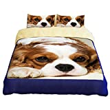 RuiHome Cute Dog Pattern Twin Bed Duvet Cover Set Hidden Zipper Closure Bedding for Teens Kid Boys Girls, 3 Pieces