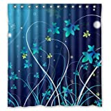 Home-Art Nice Elegance Blue Flowers Pattern In Dark Blue Shower Curtain With Rings Shower