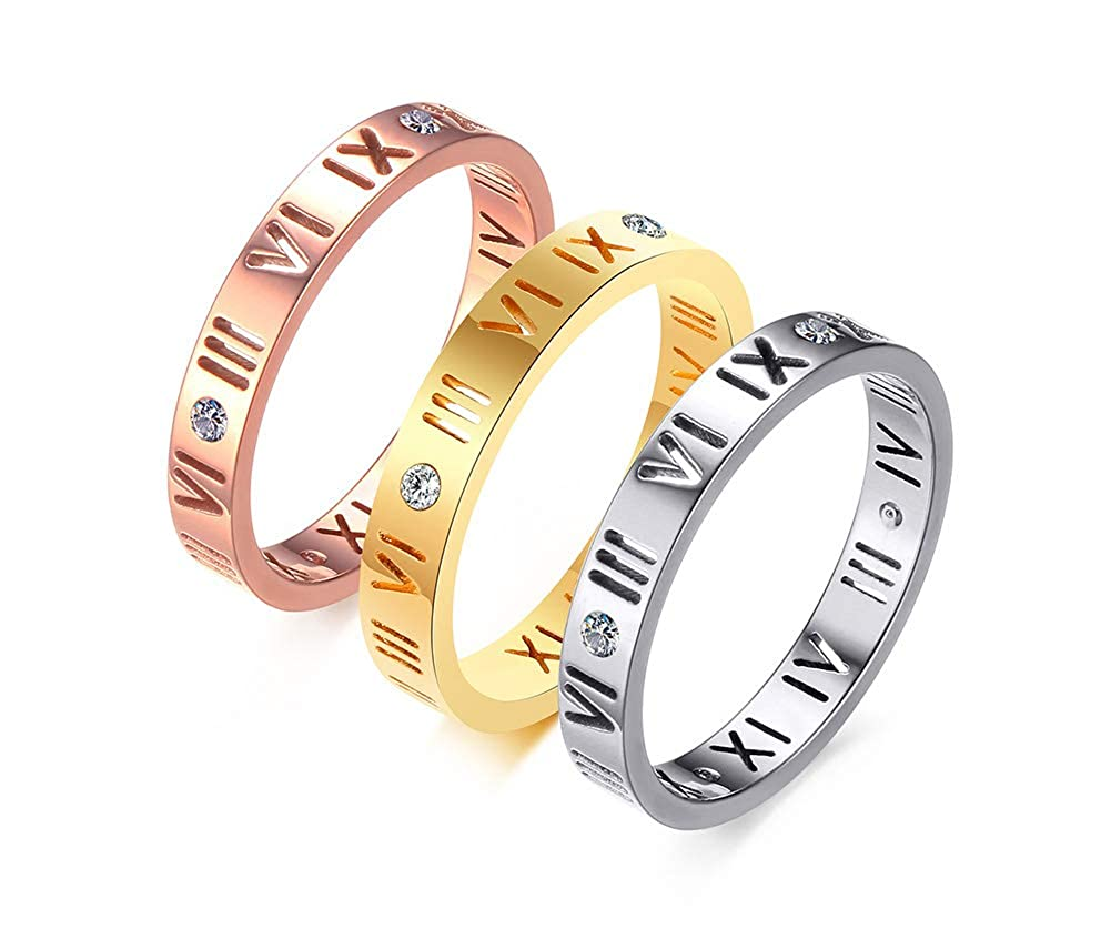 VNOX Stainless Steel CZ Roman Numeral Ring for Women Girls,Rose Gold Plated//Silver