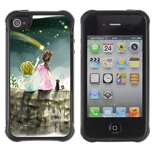 Apple Iphone 4 / 4S - Meteor Shower Art Night Sky Sisters Star