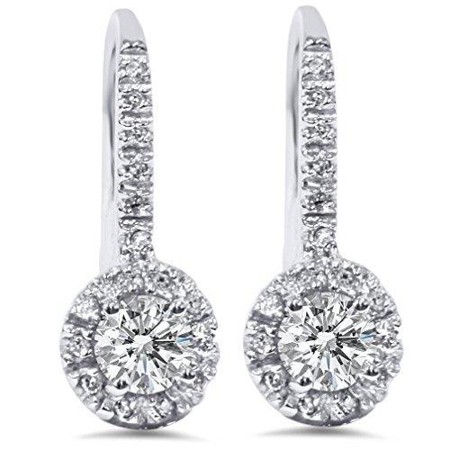 Diamond Antique Earring - 1.00CT Pave Set Halo Diamond Womens Dangle Earrings 14K White Gold Antique Round