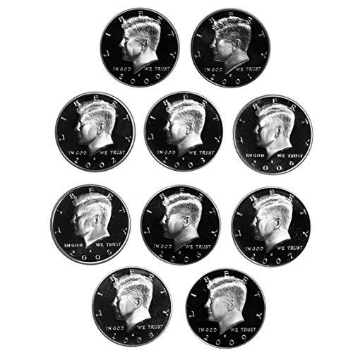 2000-2009 Proof Kennedy Half Dollar run Gem DCAM CN-Clad 10 coins ()