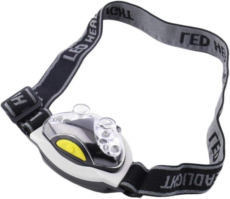 Noir /& Blanc 12000MCD /Étanche Ultra Lumineux 6 LED Lampe frontale Lampe frontale Phare 3 Modes pour le camping en plein air