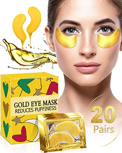 Under Eye Patches for Puffiness - 20 Pairs iMethod 24K Gold Hydrogel Collagen Eye Mask, Under Eye Bags Treatment, Great for Reducing Dark Circles, Puffy Eyes & Fine Lines (Best Eye Cream For Sunken Eyes)