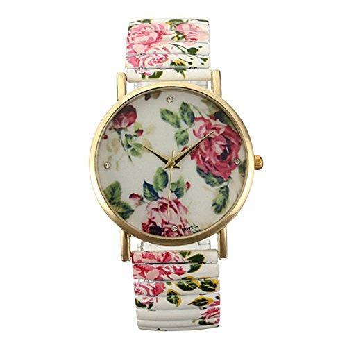 Watch - TOOGOO(R)Fashion Painting Floral Flower Bracelet Elastic Alloy Quartz Watch Woman Gift