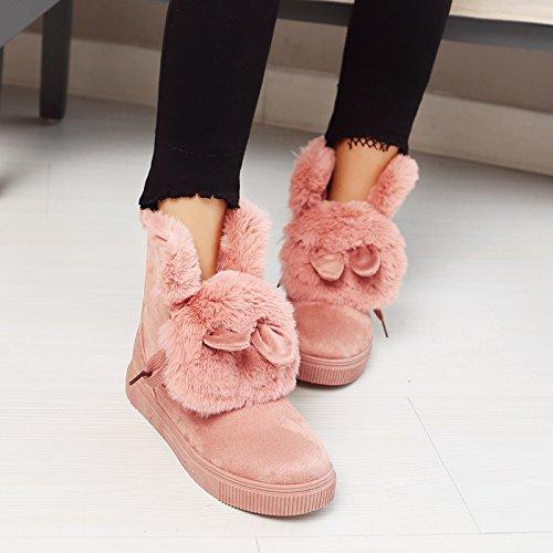 Pink Snow Thick Boots Platform Heel Lining Show Women's Shine Velvet 4qwnCUz