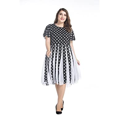 9b9c8b693d2 Judy Dre am Black and White 50s Retro Monroe Polka Dot Plus Size Evening  Dresses Round