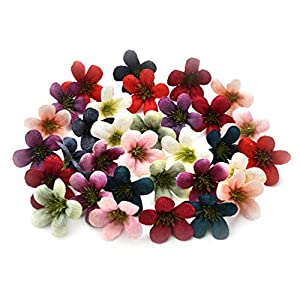 Fake flower heads in bulk wholesale for Crafts Artificial Silk Daisy Sunflower Flowers Head Cherry Blossoms Wedding Home Party Decoration & Wedding Car Corsage Decoration 100PCS 4cm (Colorful) 35
