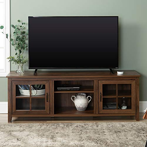 Walker Edison Furniture Company Modern Farmhouse Grooved Wood Stand with Cabinet Doors for TV's up to 80