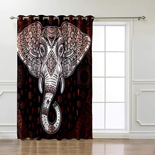 KAROLA Grommet Curtains Window Treatment Kitchen Living Room Bedroom 1 Panel,India Elephant 52 x 63 inch (Home Theatre Room Design Ideas In India)