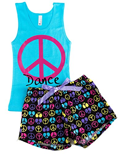 Activewear Apparel Big Girl's Dance Tank and Shorts PJ Set (Small, Cyan/Black)