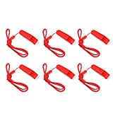 SUNVORE 6 Pcs Safety Whistle Marine Whistle with lanyard for Boating Camping Hiking Hunting Emergency Survival Rescue (Red)
