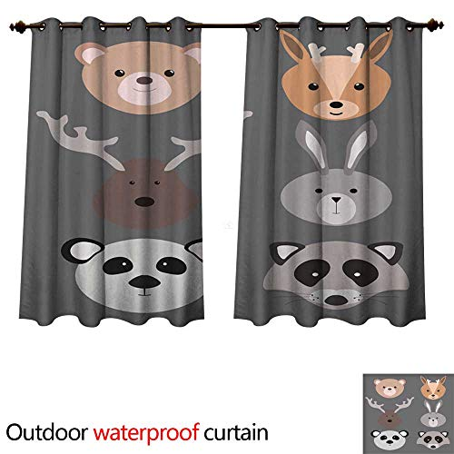 0utdoor Curtains for Patio Waterproof A Set of Cartoon Animals Illustration for Children Portraits of Animals Masks Collection of Stylized Animals W108 x L72(274cm x ()