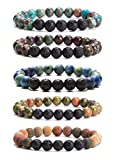 Bivei Lava Rock Stone Essential Oil Diffuser Bracelet - Natural Semi Precious Gemstone Beads Healing Crystal Bracelet (Set of 5 A)