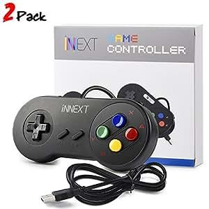 iNNEXT 2x Nueva Retro USB para Súper SNES controlador Mando de juegos Controller para PC / Mac