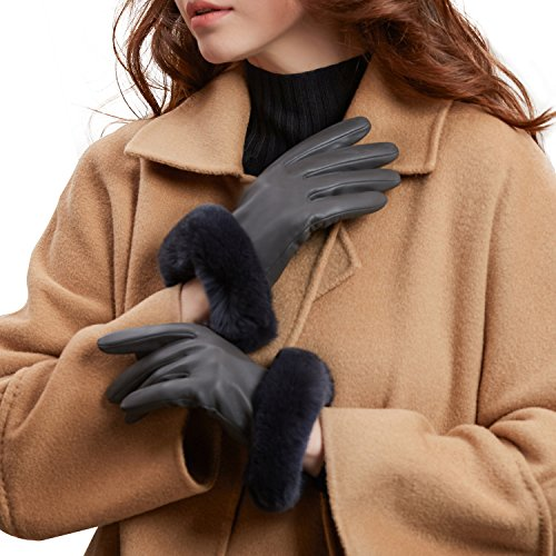 - GSG Womens Touchscreen Italian Sheep Nappa Leather Gloves Lady Driving Luxury Genuine Rex Rabbit Fur Cuff Grey