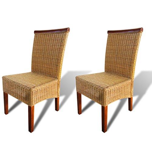 Amazon.com: Festnight Set of 2 Rattan Dining Chairs High ...