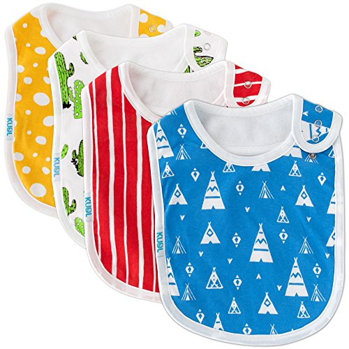 Baby Bibs Large Burpy Cloth 4 Pack Gift Set Soft Absorbent Feeding Reflux Drool Teething Bibs, Adjustable Snap Buttons, Funny Designs for Boys & Girls - Desert